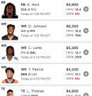 Fantasy Football: DraftKings line up for Week 16